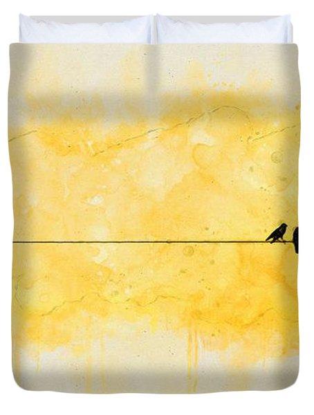Yellow Sparrow Duvet Cover