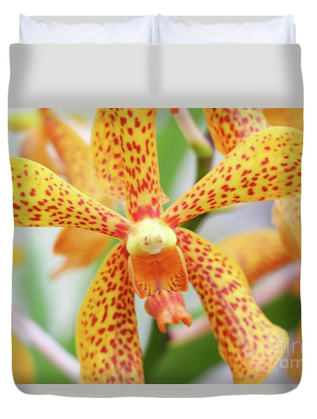 Yellow Spotted Spider Orchids Duvet Cover