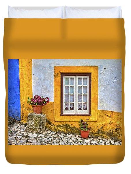 Yellow Window Of Obidos Duvet Cover