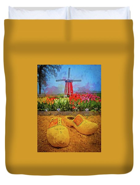 Yellow Wooden Shoes Duvet Cover
