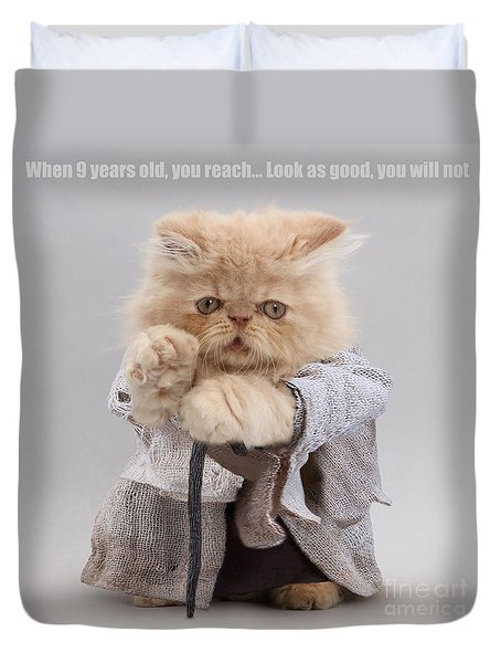 Duvet Cover featuring the photograph Yoda Cat by Warren Photographic