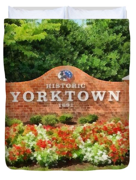 Duvet Cover featuring the painting Yorktown Sign by Harry Warrick