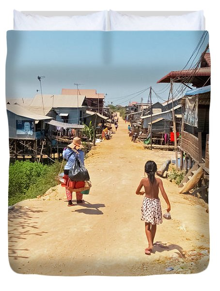 Young Girl Going Home - House On Stilts - Siem Reap, Cambodia Duvet Cover
