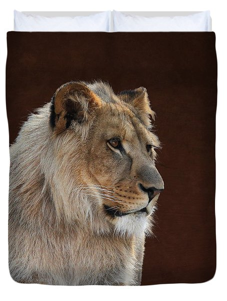 Duvet Cover featuring the photograph Young Male Lion Portrait by Debi Dalio