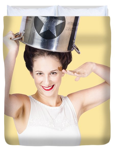 Young Pin Up Lady Reporting For Kitchen Duties Duvet Cover