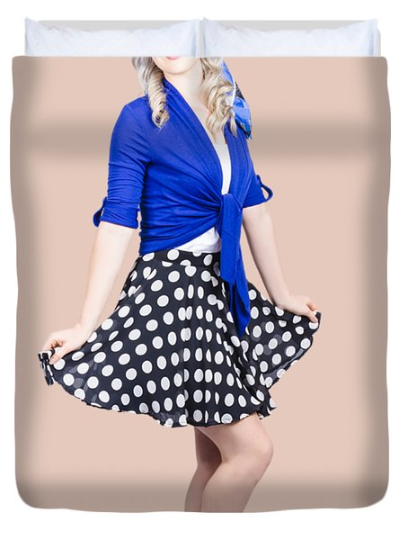 Young Stylish Pinup Woman Posing For Photo Duvet Cover