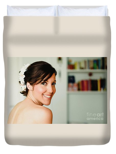 Young Woman From Behind Smiling Duvet Cover
