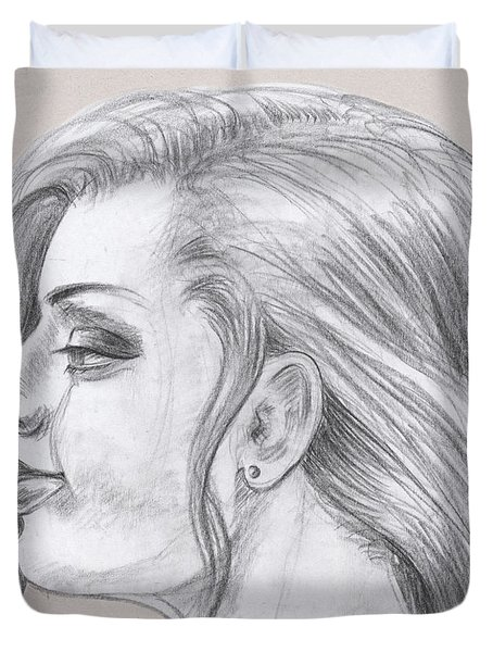 Young Woman Head Study Profile Duvet Cover