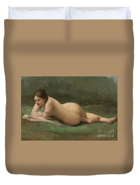 Young Woman Reclining On The Grass Duvet Cover