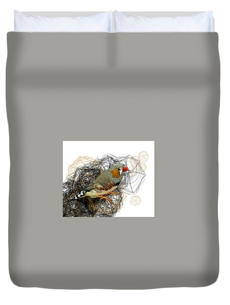 Z Is For Zebra Finch Duvet Cover