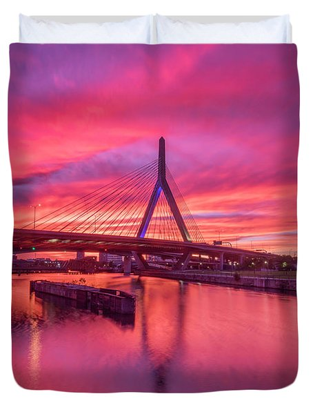 Zakim Bridge Sunset Duvet Cover