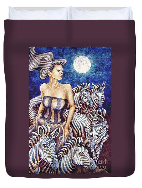 Zebra Moon Duvet Cover