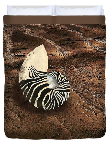 Zebra Nautilus Shell On The Sand Duvet Cover