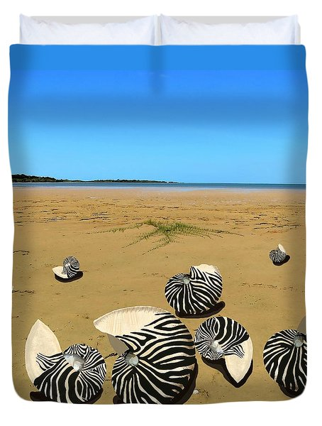 Zebra Nautilus Shells On The Beach  Duvet Cover