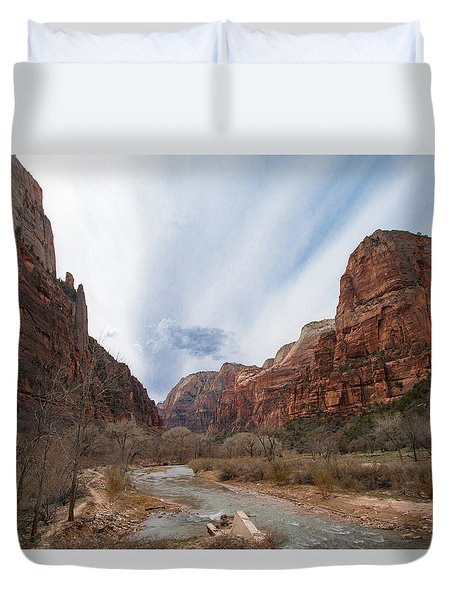Zion National Park And Virgin River Duvet Cover