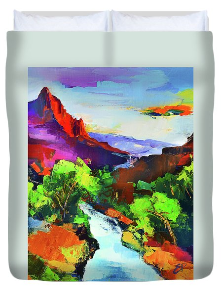 Zion - The Watchman And The Virgin River Duvet Cover