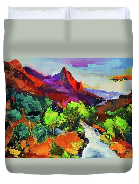Zion - The Watchman And The Virgin River Vista Duvet Cover