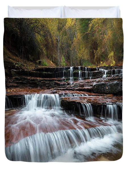 Zion Trail Waterfall Duvet Cover
