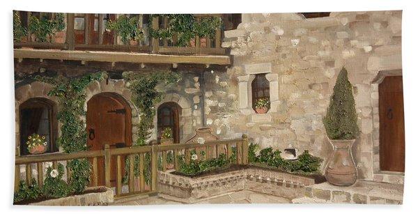 Greek Courtyard - Agiou Stefanou Monastery -balcony Bath Towel