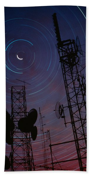 Radio Towers And Star Trails Hand Towel