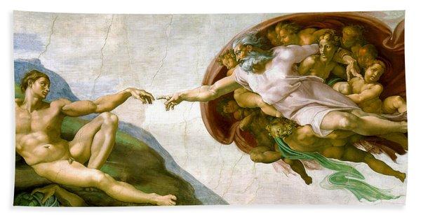 The Creation Of Adam Bath Towel
