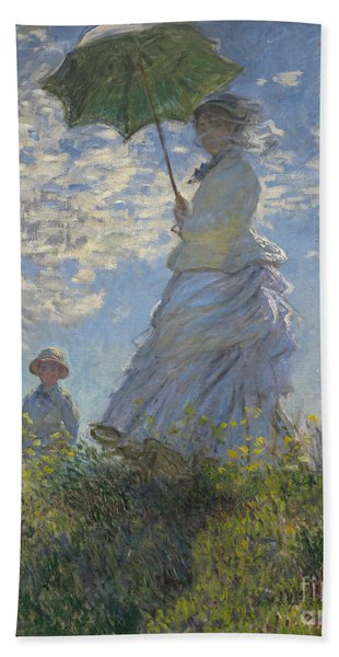 Woman With A Parasol Madame Monet And Her Son Bath Towel