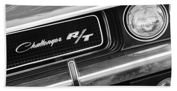 Hand Towel featuring the photograph 1970 Dodge Challenger Rt Convertible Grille Emblem by Jill Reger