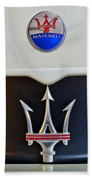 Hand Towel featuring the photograph 2005 Maserati Mc12 Hood Emblem by Jill Reger