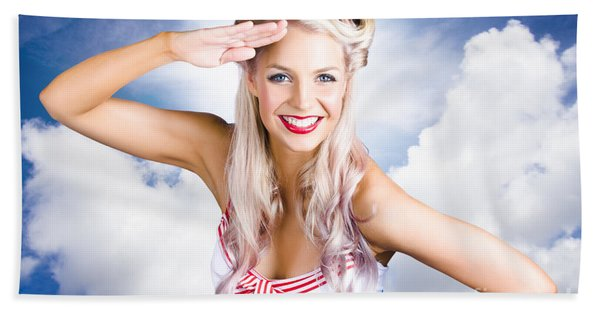 Australian Navy Girl Saluting Australia Day Hand Towel