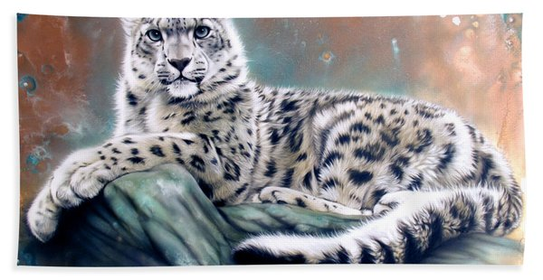 Copper Snow Leopard Hand Towel