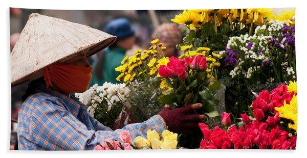 Hanoi Flowers 03 Bath Towel