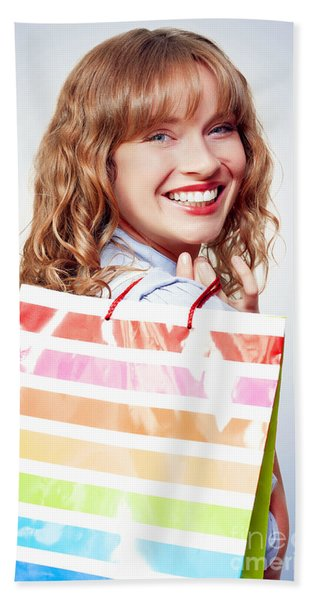 Happy Female Retail Shopper With Bag And Smile Hand Towel