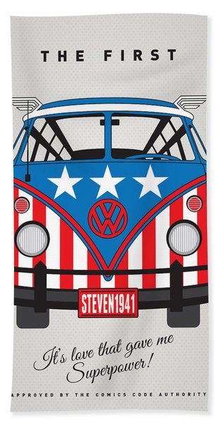 My Superhero-vw-t1-captain America	 Bath Towel