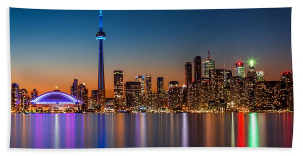Hand Towel featuring the photograph Toronto Skyline At Dusk by Mihai Andritoiu
