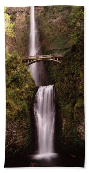 Waterfall In A Forest, Multnomah Falls Hand Towel