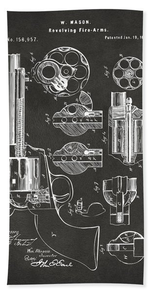 1875 Colt Peacemaker Revolver Patent Artwork - Gray Bath Towel