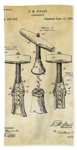 1883 Wine Corckscrew Patent Art - Vintage Black Bath Towel
