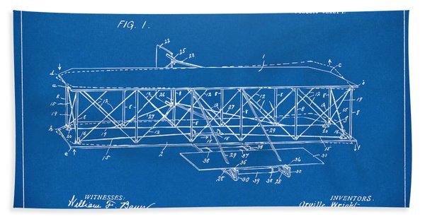 1906 Wright Brothers Flying Machine Patent Blueprint Bath Towel