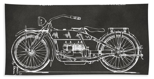 1919 Motorcycle Patent Artwork - Gray Bath Towel