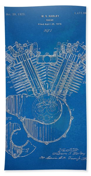 1923 Harley Davidson Engine Patent Artwork - Blueprint Bath Towel