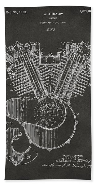1923 Harley Engine Patent Art - Gray Bath Towel