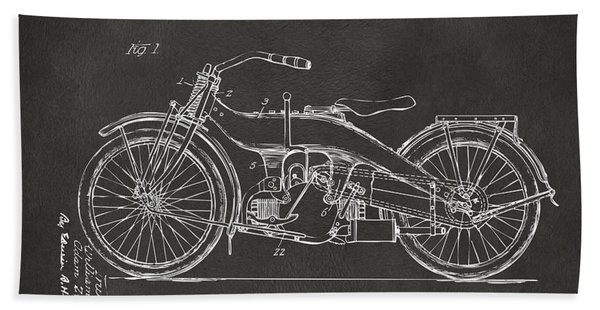 1924 Harley Motorcycle Patent Artwork - Gray Bath Towel