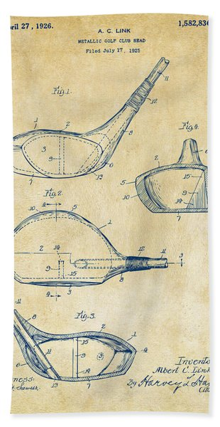 1926 Golf Club Patent Artwork - Vintage Bath Towel