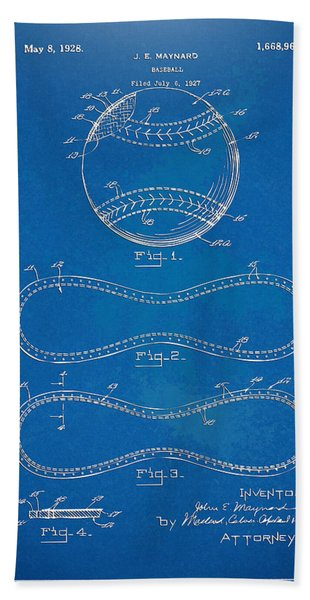 1928 Baseball Patent Artwork - Blueprint Bath Towel