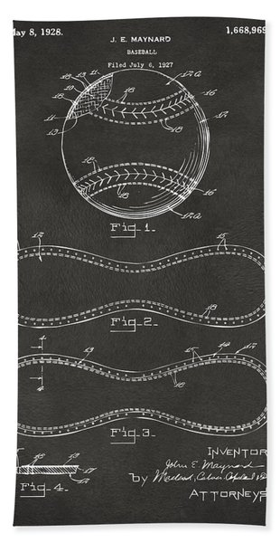 1928 Baseball Patent Artwork - Gray Bath Towel