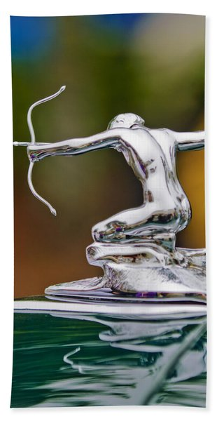 Hand Towel featuring the photograph 1935 Pierce-arrow 845 Coupe Hood Ornament by Jill Reger
