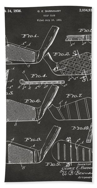 1936 Golf Club Patent Artwork - Gray Bath Towel