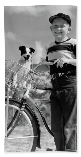 1940s 1950s Boy On Bike With Puppy Hand Towel