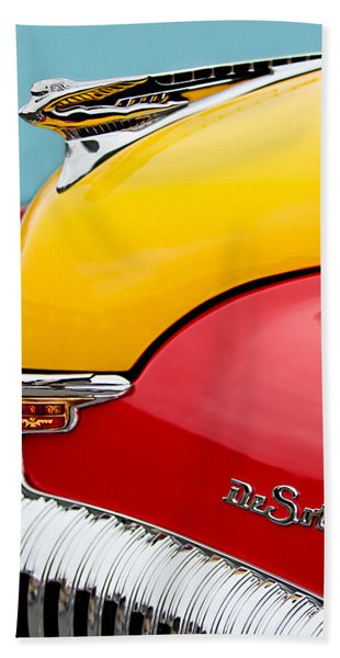 Hand Towel featuring the photograph 1946 Desoto Skyview Taxi Cab Hood Ornament by Jill Reger
