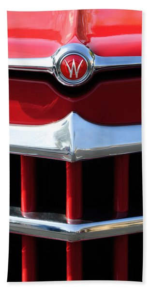 Hand Towel featuring the photograph 1950 Willys Overland Jeepster Hood Emblem by Jill Reger